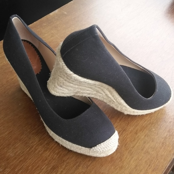 b56dcb345e70 J. Crew Shoes - J.Crew USED Canvas Seville Espadrille Wedge Black